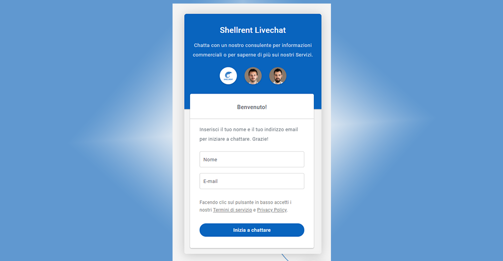 Nuova Livechat supporto commerciale