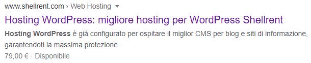 Tag Title Shellrent su Google